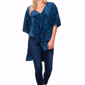 Free People We the Free Teal Velvet Luxe Tunic S